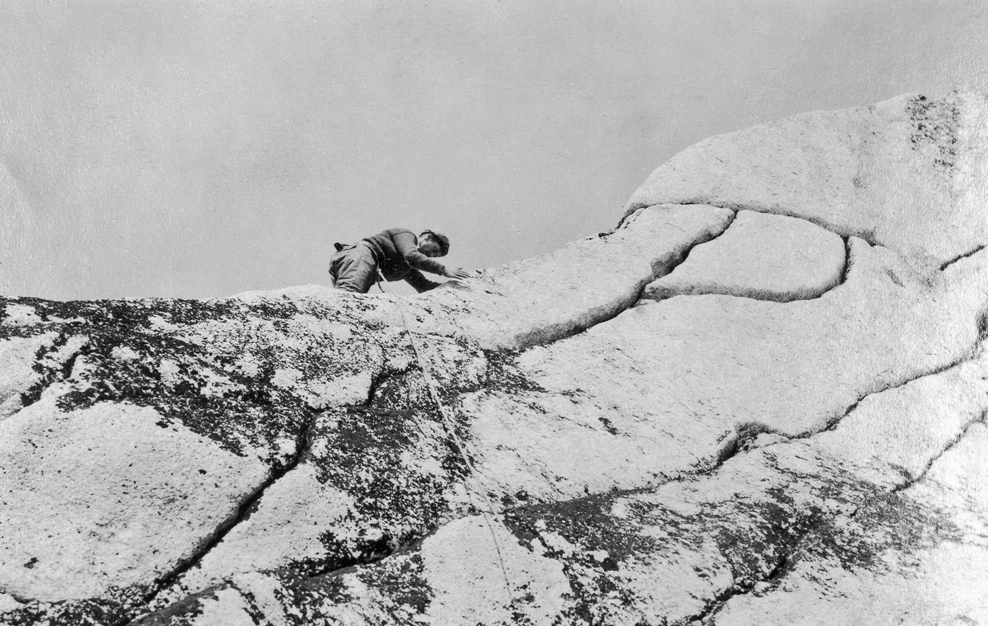 Conraid Kain climbing Bugaboo Spire
